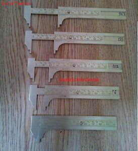 SOLID BRASS POCKET VERNIER CALIPER 4 INCH OR 100 MM SLIDING GAUGE (LOT OF 5)