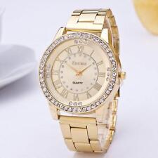 New Hot Crystal Geneva Bling Women Girl's Stainless Steel Quartz Wrist Watch