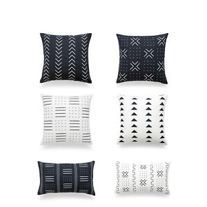 Hofdeco Throw Lumbar Cushion Cover African Mudcloth Inspired Cotton Black White