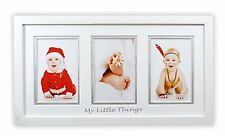 8.5x16.3-inch White Photo Baby Wood Frame with White/Silver Double Mat