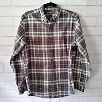 Eddie Bauer Size Medium Plaid Button Shirt Green Gray Red Long Sleeve Cotton