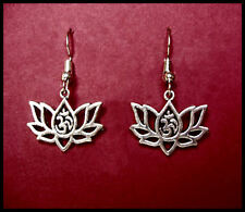 Lotus Aum Om Ohm Earrings Hindu Buddhist - Surgical Steel hooks