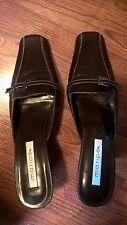 Maripe Brown Leather Square Toe Dress Kitten Heels Sz9.5 EUC