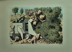 AMBROGIO MAGNAGHI la macchina e natura  litografia 50x70 anno 1976