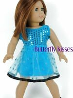 Sequin Hearts Dress Teal Blue 18 in Doll Clothes Fits American Girl