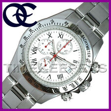 Oskar Emil Monterey GENTS MENS Steel Sports Chronograph White Dial Watch RRP£295