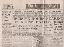 WW2 Newspaper July 10 1943 Daily Mail Halifax Bomber Kursk Birthday BIRTH DATE