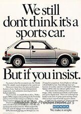 1982 Honda Civic - Sportscar - Original Advertisement Print Art Car Ad J789
