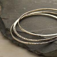 Bangle Bracelet Hammered Finish 925 Sterling Silver Stackable Minimalist 119