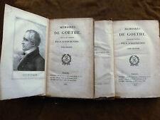 MEMOIRES DE GOETHE Traduits de l'allemand par M. AUBERT DE VITRY.1823.en 2 tomes