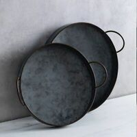 Retro Round Iron Plate With Handles Metal Vintage Bread Table Photography Tray