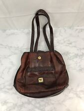 M C Marc Chantal Purse Handbag Hobo Bag Red Brown Alligator Faux Leather Tote L1