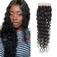 Virgin Curly Lace Closure human hair brazilian deep wave 4*4 lace closures black