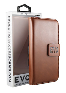 Premium Quality Wallet Case for Samsung S10 by Evo - Brown - Fast Delivery