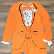 ADULT ONE PIECE PJ's Fleece Pajamas Mens Medium Orange Tuxedo