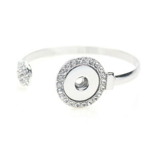 Silver Drill Adjustable Bangle  Fit 18mm Chunk Charm Snap Button Jewelry