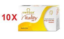 10 X OMEGOR VITALITY INTEGRATORE OMEGA-3 EPA/DHA VITAMINA E 60 PERLE da 700mg