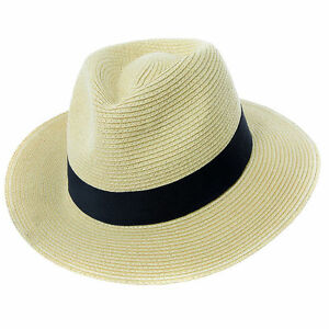 Mens Ladies Fedora Crushable Straw Panama Style Sun Hat Summer Hat 6 Sizes 57-62