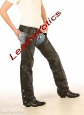 Straight Leg Leather Mid Rise 32L Trousers for Women