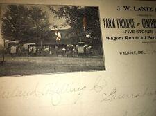 Lantz Farm Produce Waldron Indiana Photo  Letterhead 1900 handwritten