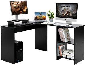 Bureau d'ordinateur table informatique d'angle étagère meuble de travail en L