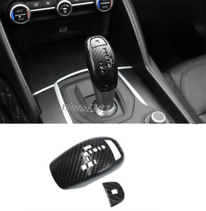2PCS Carbon Fiber Gear Shift Knob Cover Trim For Alfa Romeo Giulia Stelvio 17-19