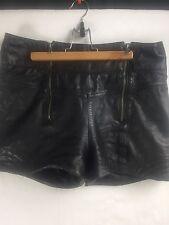 Guess Women's Black Leather Size 30 High Waist Zipper Booty Shorty Shorts