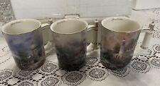 Thomas Kinkade Seaside Inspirations Heirloom Porcelain 1st Set Lighthouse 3 Mugs