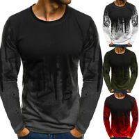 Men's Long Sleeve Slim Fit Tee Tops Blouse T-shirt Round Neck Shirts Casual
