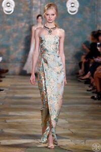 Tory Burch Kamilla Strapless Metallic Jacquard Gown Maxi Dress RUNWAY XS S Sz. 2