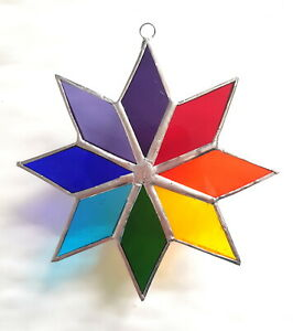 Rainbow Star stained glass suncatcher chakra window hanging home decor gift