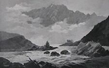 ANTIQUE ENGRAVING THE REMARKABLES QUEENSTOWN NEW ZEALAND 1880