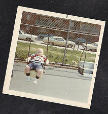 Vintage Photograph Chubby Little Baby Riding on Swing in Park