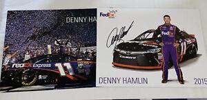 (2) Denny Hamlin signed FEDEX JGR #11 TOYOTA DAYTONA 500 WINNER 9x11 HERO photos