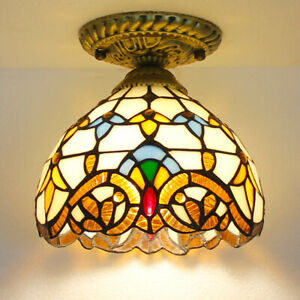 """Ceiling Lamp Tiffany Stained Glass Shade Baroque Design Vintage Fixture 8"""" 12"""""""