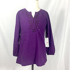 NWT Pink Chicken Purple Top with Sequins Embroidery Detail Girls' Size 7Y