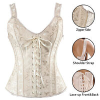 Gothic Steampunk Lace up Boned Halter Corset Overbust Top Waist Body Shaper Z6