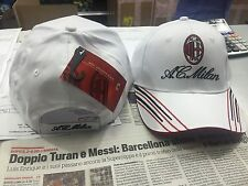 1 CAPPELLO MILAN UFFICIALE CAP OFFICIAL AC MILAN CON VISIERA COTONE 100% BIANCO