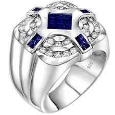 Men's Sterling Silver .925 Square Dark Blue CZ Stones Ring Sizes 6-13 /Gift Box