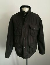 Mens Barbour New Utility Black Waxed Cotton Jacket - Size Large