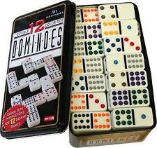 Doppel 12 Domino in Metalldose Color 91 Stück mit farbigen Punkten