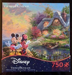 Jigsaw Puzzle Disney Thomas Kinkade Mickey & Minnie Sweetheart Cove Complete
