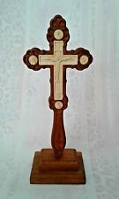 """11.5""""Carved Wooden Altar Cross Detached Wooden Stand Hand Blessing Cross 2 Sides"""