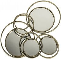 LARGE Distressed Vintage Antique Gold Metal Hanging Circles Wall Mirror NEW