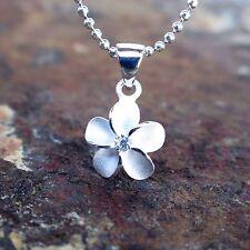 10mm Plumeria Hawaiian Genuine Silver Pendant Necklace Christmas Gift #SP43501