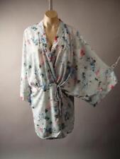 Gray Japanese Asian Floral Print 20s Dress Robe Kimono 263 mv Jacket 1XL 2XL 3XL