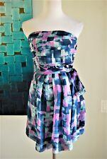 Fumblin' Foe Blue Gray Pink Chiffon Strapless Peplum Dress S 4  NEW
