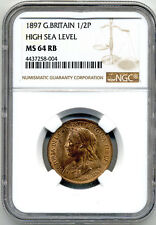 GREAT BRITAIN QUEEN VICTORIA 1897 HALF PENNY HIGH SEA LEVEL NGC MS 64 RB