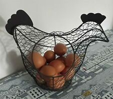 Chicken Egg Holder Brown Metal Basket Caddy Rustic Farm House Kitchen New
