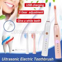 Ultrasonic Sonic Electric Toothbrush 5 Gear USB Fast Charge Waterproof 2    !!